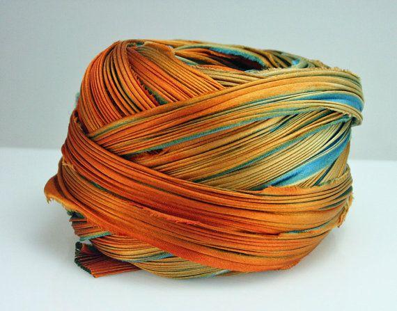 Silk Ribbon Hand Dyed Shibori Silk Ribbon by TandZSupplies on Etsy, $15.99