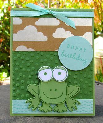Krystal's Cards: Stampin' Up! Playful Pals Hoppy Frog #stampinup #krystals_cards #playfulpals #onlinecardclass