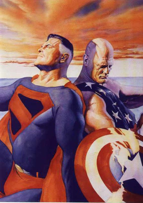 Old Superman and Captain America by Alex Ross