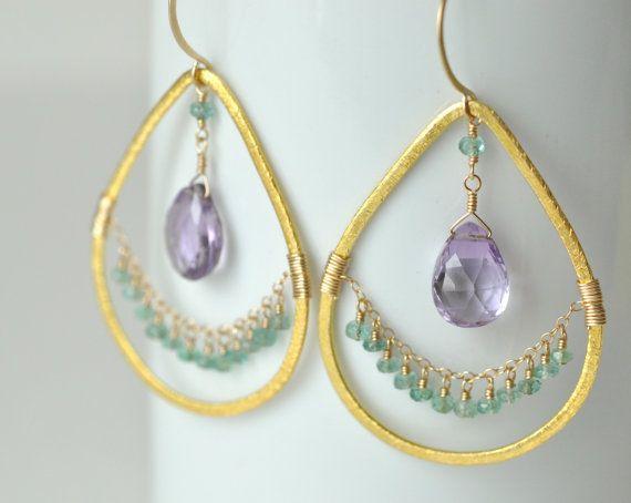 Amethyst Ohrringe - Teardrop Ohrringe-Statement Ohrringe - Gold gefüllte Smaragd Ohrringe - Ohrringe & Ohrhänger - lila und Grün Ohrringe