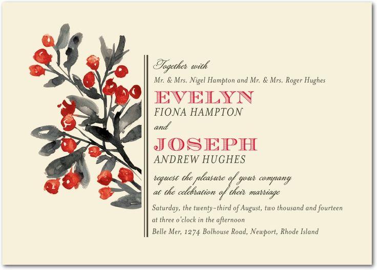Winterberry Charm - Signature White Wedding Invitations in Bright Red or Citrus   Petite Alma