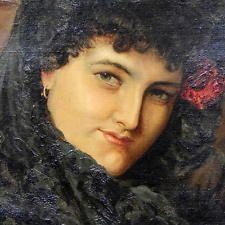 19TH century музейного качества масло на холсте портрет леди танцор фламенко