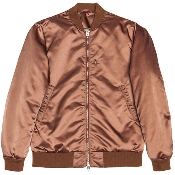 Acne Studios Melo Satin Bomber ($403) ❤ liked on Polyvore featuring men's fashion, men's clothing, men's outerwear, men's jackets, jackets, outerwear, coats & jackets, tops and bomber jacket
