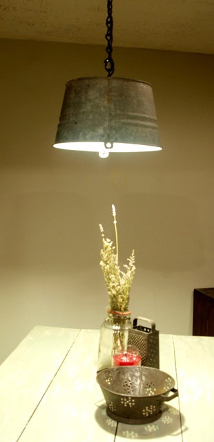Upcycled Galvanized Bucket Light Pendant