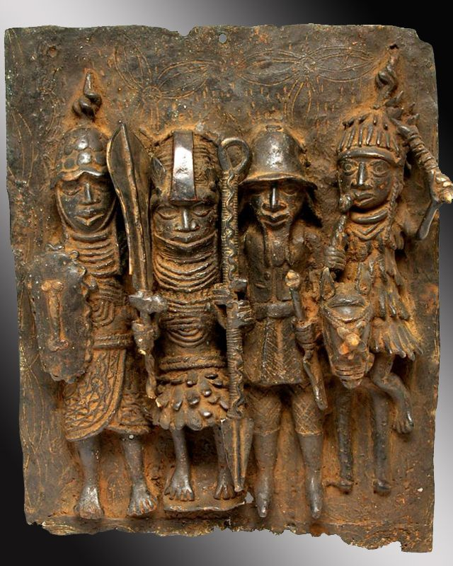 Africa | Ancient bronze plaque from Nigeria | Most of these types of plagues were made prior to the mid 18th century