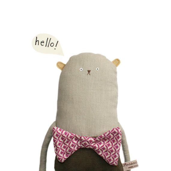 Toy Bear, Handmade Bear, Plush Bear, Handmade Bear, Bow Tie, Vintage Fabric, Art Doll, Poosac, Brown, Pink