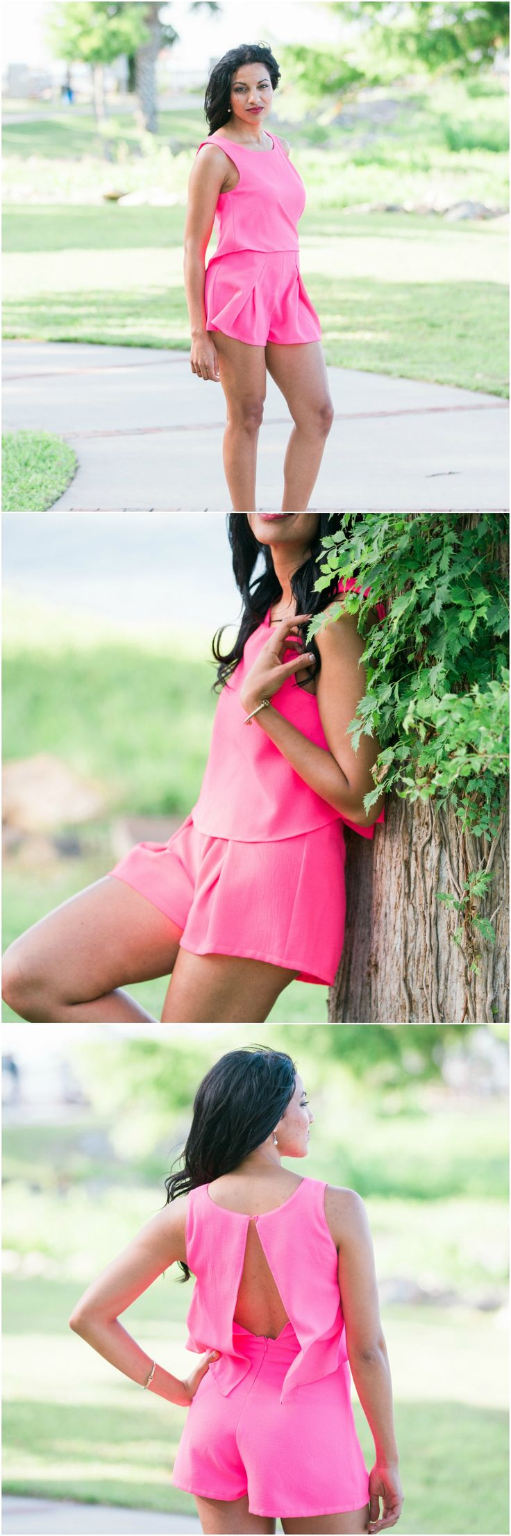 This is the hottest romper you can buy this year! With its electric and vibrant color you will be the show stopper no matter where you are! The tired fit is perfect for all body types and will be cool in the summer heat with an open back with a zipper and button closure. women's summer outfit, romper, jumper, one piece, hot pink, open back romper. summer outfit.