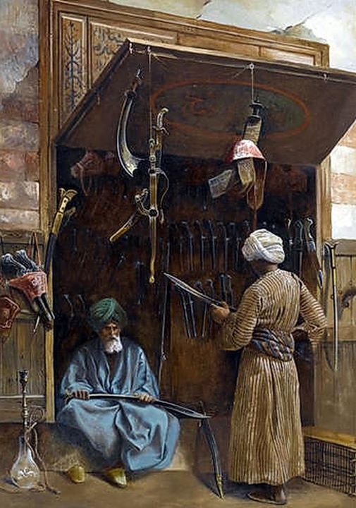 'The arms dealer'  by Charles Robertson  (British, 1844-1891)