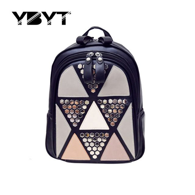 Ybyt marca 2017 mulheres estilo preppy rebite panelled apliques mochila hotsale joker senhoras mochila de compras de moda sacos de viagem