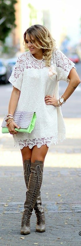 White Lace Dress with Over the Knee Lace Boots | Chic Street Outfits
