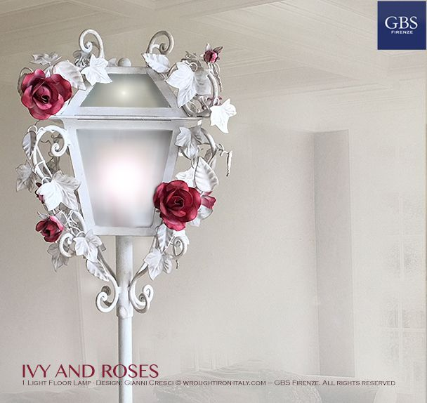 Ivy and Roses. Floor Lamp – Lantern. 1-Light. Hand-painted wrought iron. Made in Italy. All rights reserved. Design: Gianni Cresci