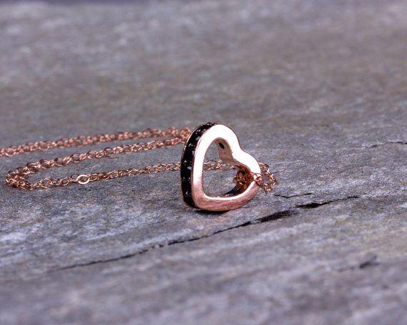 Rose gold heart necklace / Heart pendant / Black heart necklace/ Love necklace…