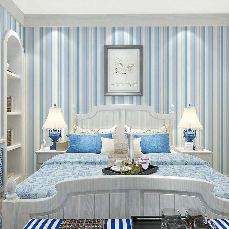 (29.78$)  Watch here - http://aikyt.worlditems.win/all/product.php?id=32779438779 - Mediterranean Blue Vertical Stripes Non-woven Wallpaper Modern Children Room Bedroom Wall Decoration Room Kids Wall Paper Decor
