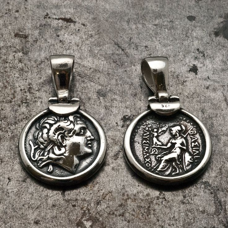 Greek Ancient Coin Necklace, Men Sterling Silver Pendant Alexander the Great, Greek Coin Necklace, Statement Unisex Necklace, Greek Jewelry - pinned by pin4etsy.com