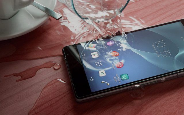 Water spilled on smartphone