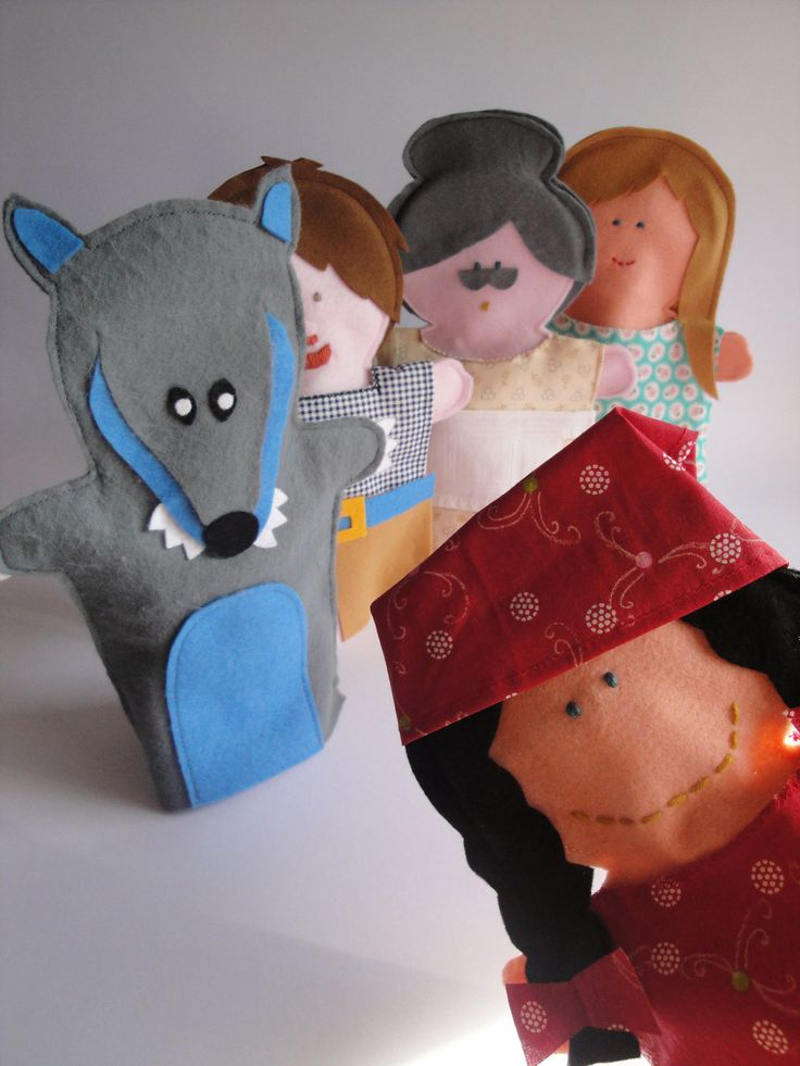 Little Red Riding Hood felt hand puppet Set - handmade in Italy -. $65.00, via Etsy.