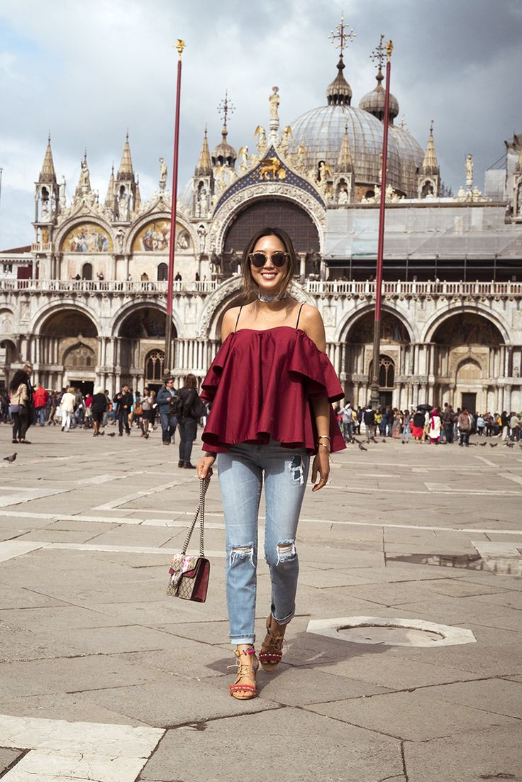aimee_song_anna_october_off_the_shoulder_ruffle_top_ag_jeans_schutz_sandals_gucci_bag