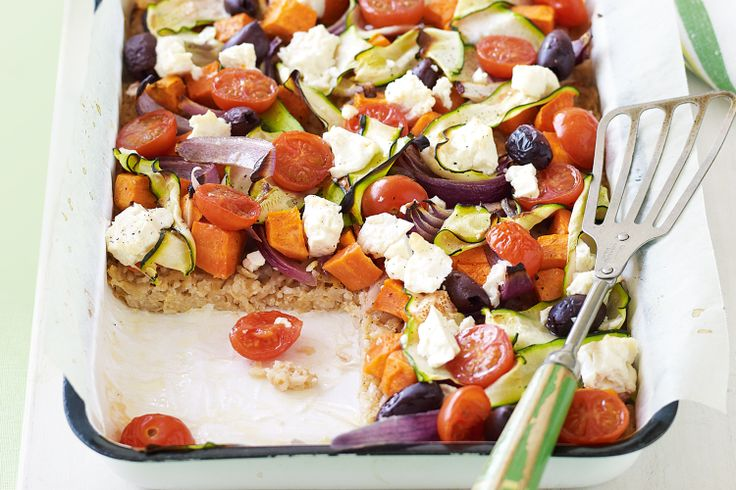 This colourful vegetarian bake is enough for a mid-week dinner but is still a healthy choice for the family.
