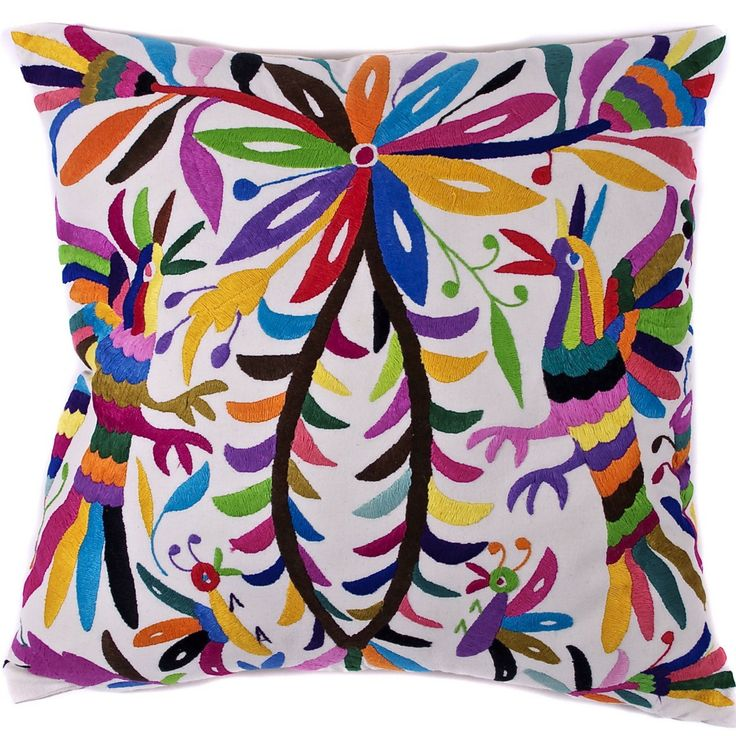 Multi-Colored Hand Embroidered Otomi Pillow with Insert - Mexican Textile