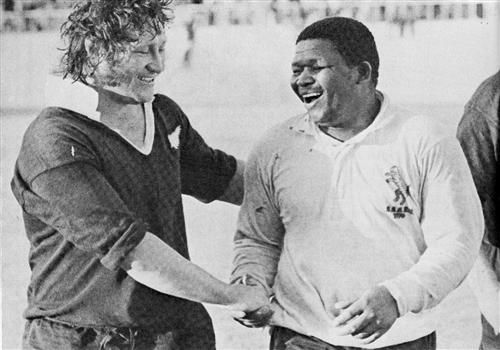 31 Aug 76 - Leopards 0 / All Blacks 31  Best of pals, Kent Lambert and Broadness Cona leaving the field after the Leopards match at East London.