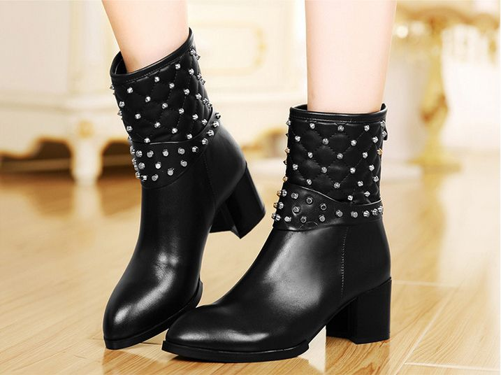 Women's Chunky Heel Mid-calf Boots Casual Shoes with Diamond