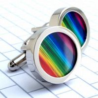 Rainbow Cuff Links Colourful Cufflinks to Wear with Pride