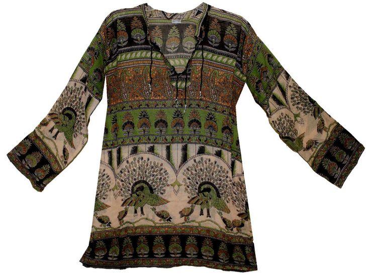 Indian cotton BLOUSE TOP hippie BLUSA  retro gypsy WOMEN EHS BOHO ETHNIC TUNIC