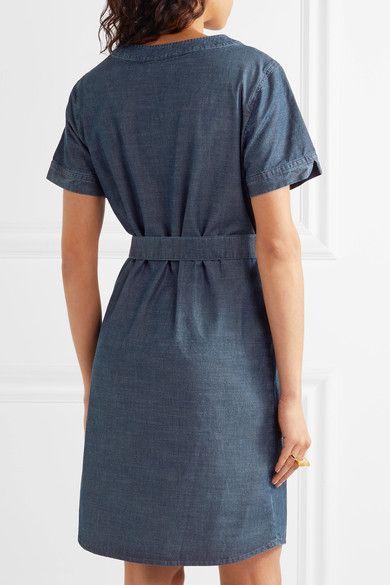 A.P.C. Atelier de Production et de Création - Jess Pintucked Cotton-chambray Dress - Mid denim - FR38