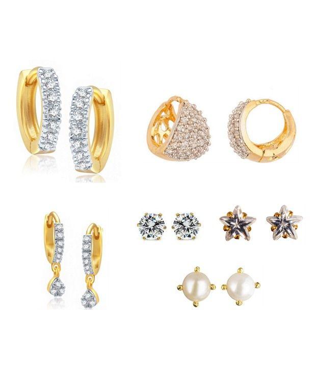Buy Parijaat White American Diamond Earrings Combo Of 6