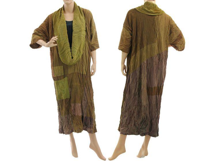 Lagenlook boho dress large collar, crushed silk in green olive L-XXL
