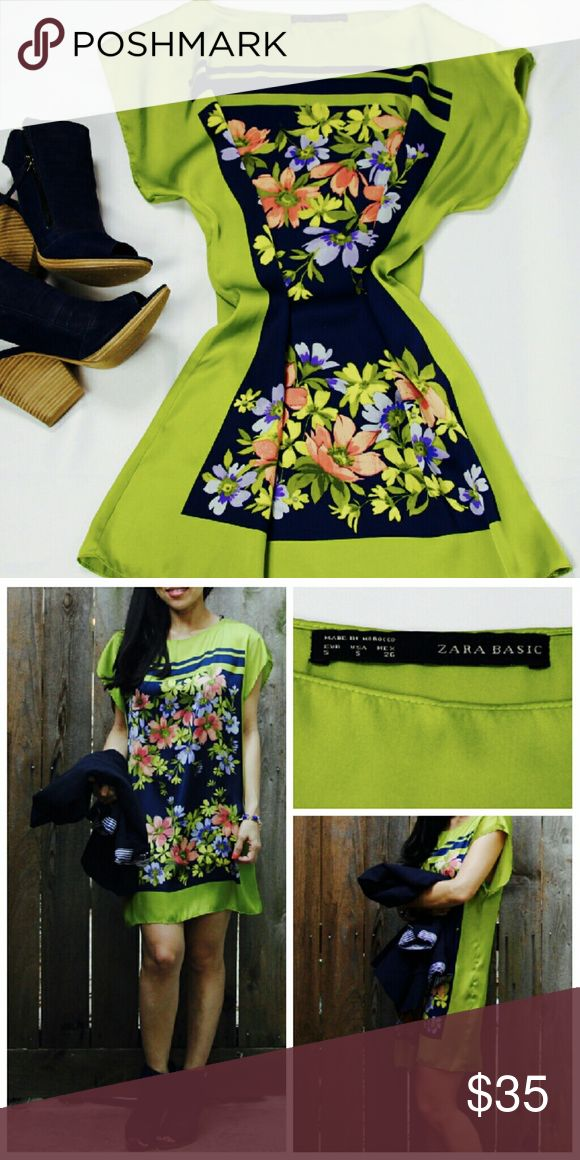 [Zara] Green Shift Dress Beautiful and stylish Zara shift dress in green with vibrant navy and flower print on the front. Hem hits a few inches above the knee. Great dress to wear under a blazer for work or for a day out! 100% polyester. Size S. NWOT. Zara Dresses