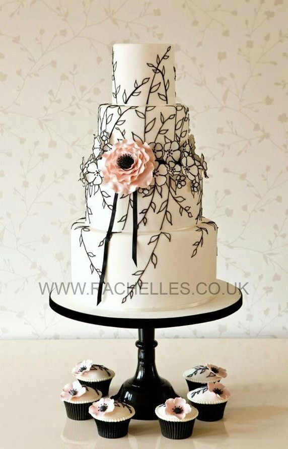 Pretty Black Vines Tiered Wedding Cake