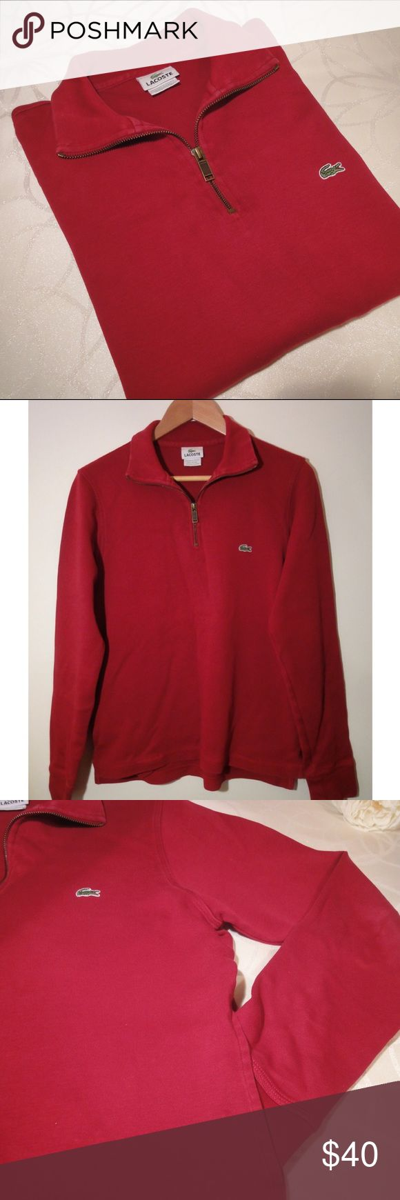 Men's Half-Zip LACOSTE Sweater Excellent Lacoste half-zip sweater in a burgundy/red color, excellent conditions! This is such a great item, but unfortunately it has been outgrown. What I love about this sweater is that it has kept its color, wash after wash, there has been no fading! Has two side pockets. Lacoste Sweaters