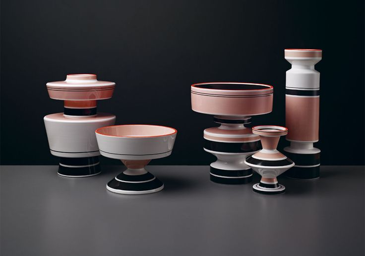 Fashion designer Roksanda Ilincic has put her own spin on five handmade ceramic vessels designed by Margrit Linck between the 1940s and 1960s. Previously produced in just a white or black glaze, the vases now feature Ilincic's signature bold use of colour. The horizontal banding and stripes were created using special decals, a kind of transfer fired directly onto the glaze. #wallpaperhandmade