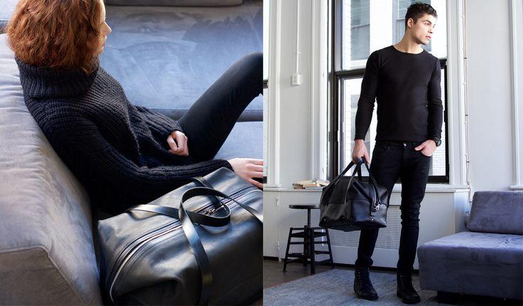 Duffle bag Martin Dust Duffle leather bag sac à voyage cuire black noir minimalist transform bigger bag Montréal: