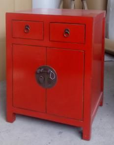 ANTIQUE SMALL CHEST: 2 DOORS & 2 DRAWERS