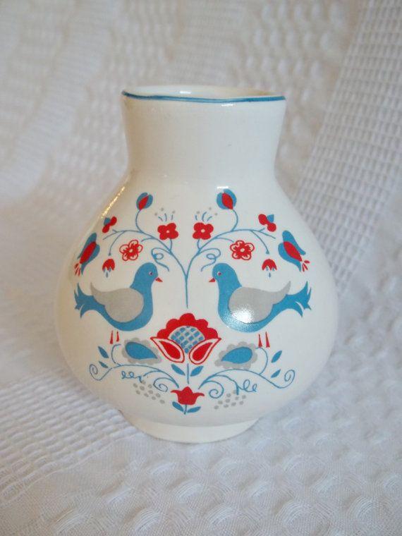 Small vase with birds dutch folk art designs by GraceYourNest, $10.00