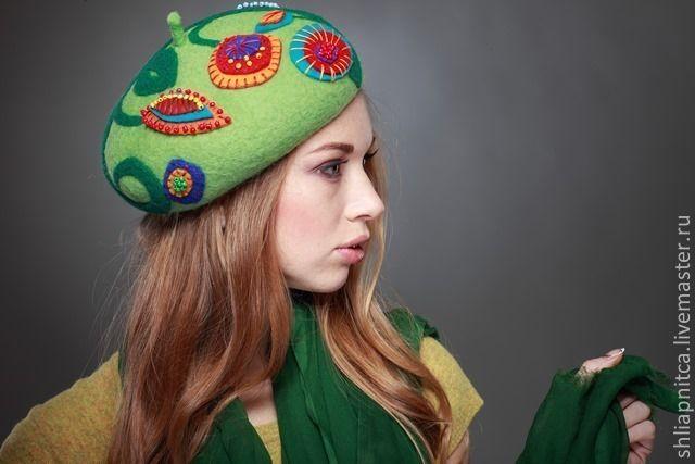 """Купить """"Весёлый беретик"""" - зеленый, цветочный, Светлана Кот, Валяние, Мокрое валяние, головной убор"""