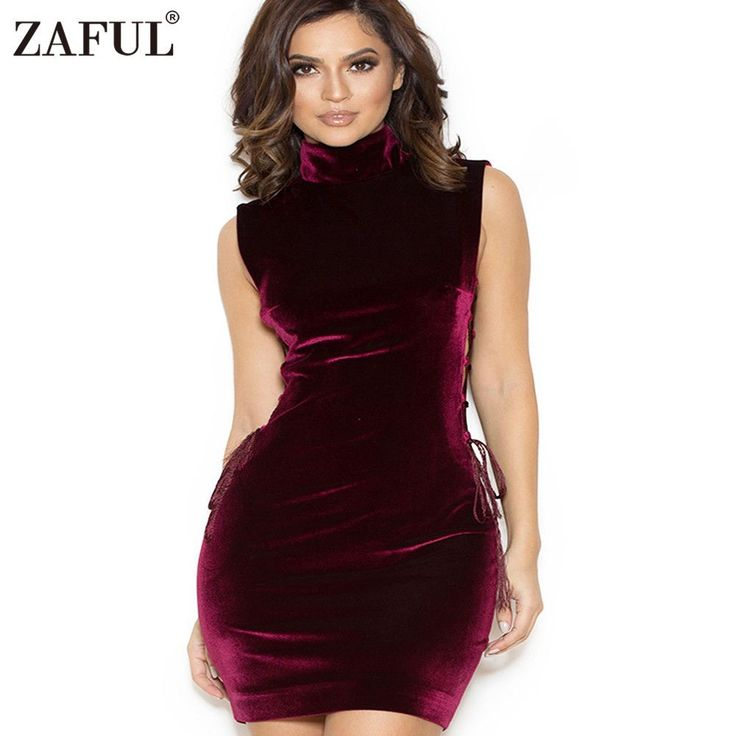 ZAFUL Women Elegant Velvet Dress Sleeveless Stand Collar Cross Bodycon Casual Women Knee-Length Dresses New Female Vestidos
