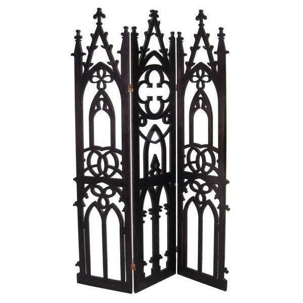 3 Panel Gothic Screen ❤ liked on Polyvore featuring home, home decor, gothic home decor and goth home decor
