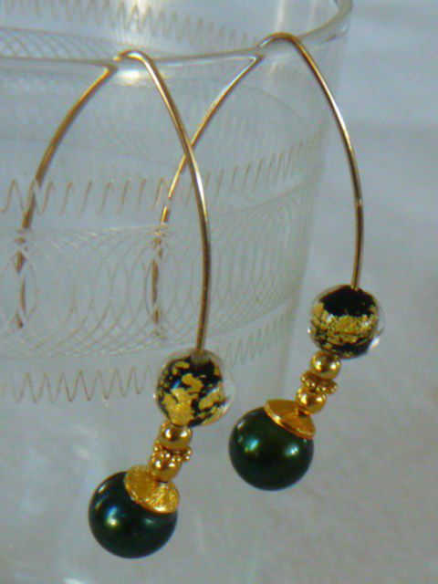 BLACK TAHITAN SOUTH SEA PEARLS ITALIAN MURANO GLASS 24KT SOLID GOLD, & 14KT SELLING NOW 10TH August 2014