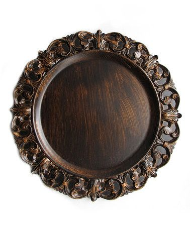 Another great find on #zulily! Brown Emboss Charger Plate #zulilyfinds