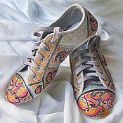 """Обувь ручной работы. Ярмарка Мастеров - ручная работа Кеды с ручной росписью """"Розовый закат"""". Handmade."""