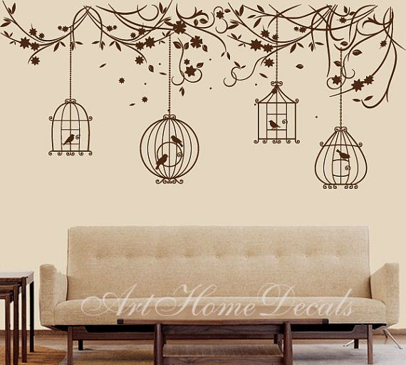 Nature wall decal birds Wall Decal branch Wall Sticker Bird Cage  Size : 110 W x 51 H (approx.), 280cm x 130cm  The bird cages are separated so you