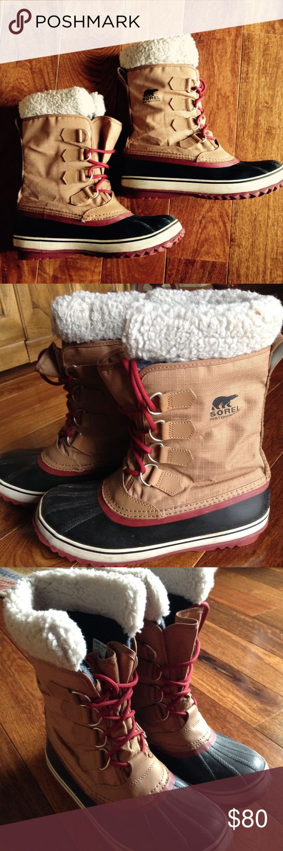 "SOREL Women's Winter Carnival Boots Color: Elk & Red Dahlia / Seam-sealed waterproof construction / Upper: waterproof nylon / Outsole: Hancrafted waterproof vulcanized rubber shell with herringbone outsole / Insulation: Removable 6mm washable, recycled felt InnerBoot with Sherpa Pile snow cuff / SOREL rated to: -25 degrees Fahrenheit / 32 degrees Celsius / Shaft Height: 7.5"" / Good for: HEAVY SNOW / GREAT CONDITION SOREL Shoes Winter & Rain Boots"