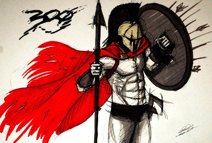 Illustration inspired on 300 Movie. Sparta!  Ilustración inspirada en la película 300.