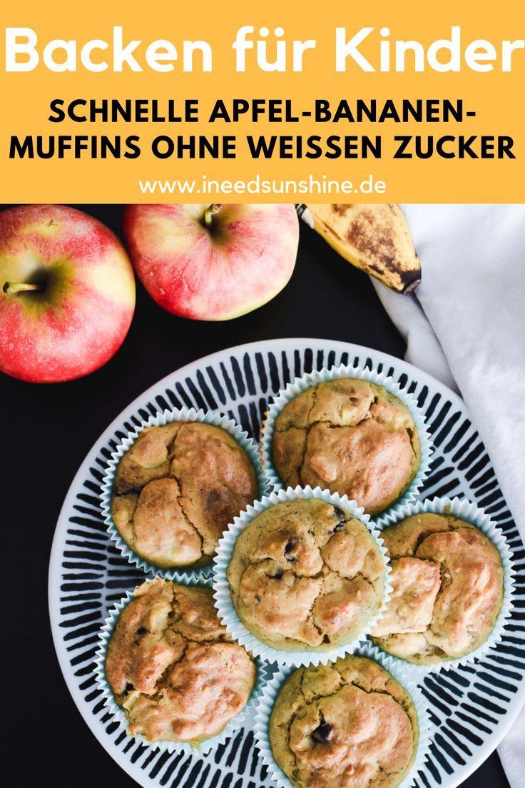 Apfel Bananen Muffins Gesundes Rezept Perfekt Fur Kinder Gesunde Rezepte Bananen Muffins Muffins Gesund