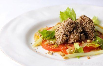 Crispy sesame duck livers with a celery, tomato and pine nut salad - Shaun Hill - Great British Chefs