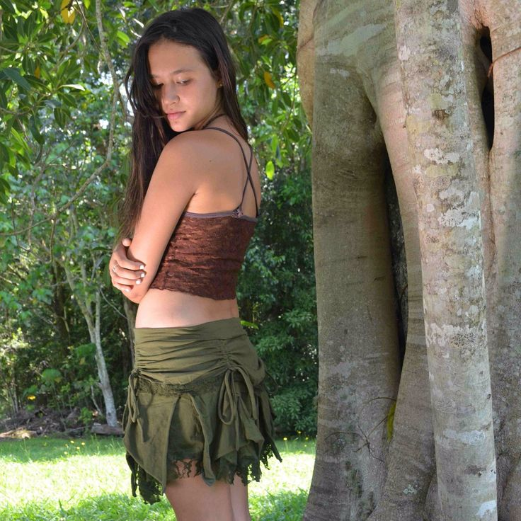 Gorgeous Faery Skirt so beautiful and comfortable to wear and made from cotton lycra and lace. Features cinchers on both the front and back so you can pull it up or down to adjust the length. Available in Red, Black, Brown, Beige and Olive Green.