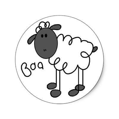 Sheep Stick Figure Sticker